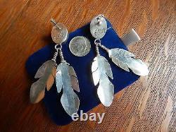 Navajo Ben Begaye Sterling Silver Long Turquoise Pierced Dangle Feather Earrings