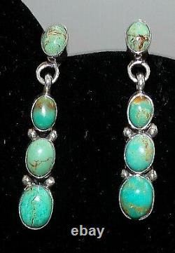 Navajo C Jones Signed Sterling Silver Turquoise Pierced Post Dangle Earrings