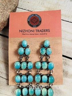 Navajo Carico Lake Turquoise & Sterling Silver Dangle Earrings