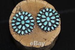 Navajo Cluster Earrings, Natural Easter Blue Turquoise, Sterling, By D. Ashley