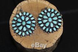 Navajo Cluster Earrings, Natural Easter Blue Turquoise, Sterling, Morris Begay