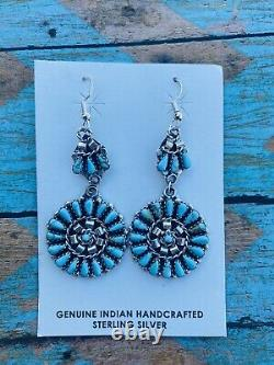 Navajo Cluster Turquoise & Sterling Silver Dangle Earrings