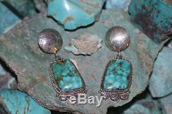 Navajo Earrings, Sterling Silver, Carico Lake Turquoise, Signed Wylie