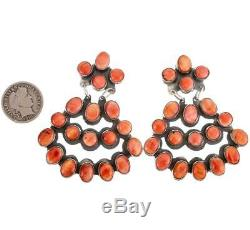 Navajo Earrings Sterling Silver Coral Red Spiny Oyster JENNIFER BEGAY Clusters