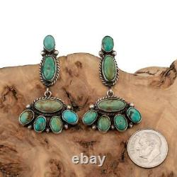 Navajo Earrings TURQUOISE Sterling Silver Green Cluster Dangles Old Pawn Style