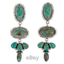 Navajo Earrings TURQUOISE Sterling Silver Long Chandelier Dangles Green Pierced