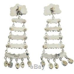 Navajo Earrings TURQUOISE Sterling Silver Long Chandelier Dangles Old Pawn S Tso