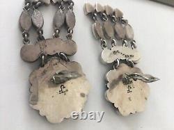 Navajo Federico Jimenez Sterling Silver Turquoise Cluster Chandelier Earrings