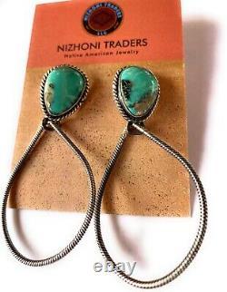 Navajo Fox Turquoise & Sterling Silver Hoop Earrings