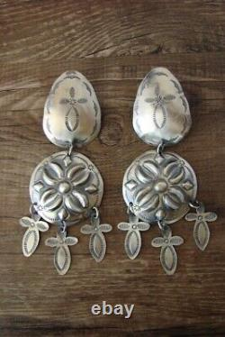 Navajo Hand Stamped Concho 3 Cross Sterling Silver Earrings by Tim Yazzie