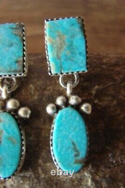 Navajo Hand Stamped Sterling Silver Turquoise Earrings! Selena Warner