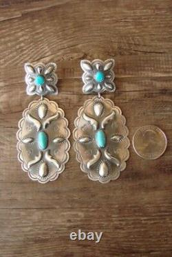 Navajo Hand Stamped Sterling Silver Turquoise Post Earrings! GL