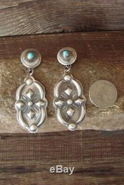 Navajo Hand Stamped Sterling Silver Turquoise Post Earrings by T. Yazzie