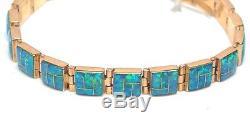 Navajo Handmade 14k Gold & Blue Opal Inlay Bracelet
