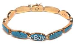 Navajo Handmade 14k Gold & Turquoise Inlay Bracelet