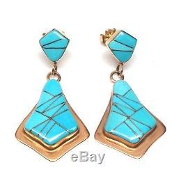 Navajo Handmade 14k Turquoise Inlay Post Earrings