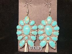 Navajo Handmade Cluster Turquoise Sterling Silver Earrings Squash Blossom