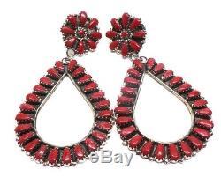 Navajo Handmade Coral Sterling Silver Cluster Post Earrings