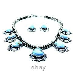 Navajo Handmade Golden Hills Turquoise Necklace Set With Earrings By Randy Boyd