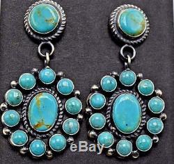 Navajo Handmade Kingman Turquoise Cluster Earrings Sterling Silver Anthony Skeet