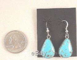Navajo Handmade Kingman Turquoise Dangle Earrings Set In Sterling Silver