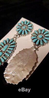 Navajo Handmade Native American Sterling Silver Faux Turquoise Earrings