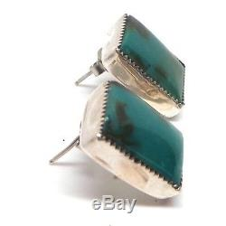Navajo Handmade Royston Turquoise Sterling Silver Post Earrings -Shay