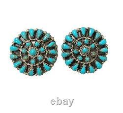 Navajo Handmade Sterling Silv. Turquoise Cluster Post Earrings- Matilda Benally