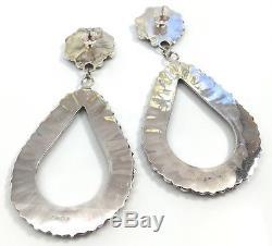 Navajo Handmade Sterling Silver Coral Cluster Post Earrings By Mathilda B