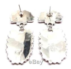 Navajo Handmade Sterling Silver Coral Cluster Post Earrings- K. H