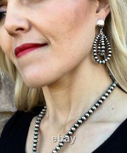 Navajo Handmade Sterling Silver Double Hoop Bead Earrings by Jan Mariano
