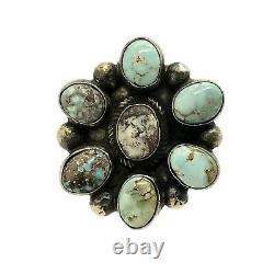 Navajo Handmade Sterling Silver Dry Creek Turquoise Ring 7 Kathleen Chavez