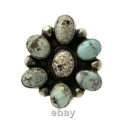 Navajo Handmade Sterling Silver Dry Creek Turquoise Ring 8.5 Kathleen Chavez