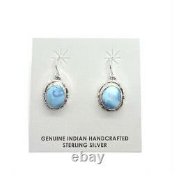 Navajo Handmade Sterling Silver Golden Hill Turquoise Hook Earrings F F