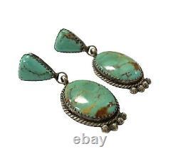 Navajo Handmade Sterling Silver Kingman Turquoise Earrings HB