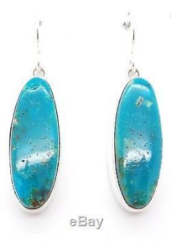 Navajo Handmade Sterling Silver Kingman Turquoise French Hook Earrings