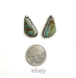 Navajo Handmade Sterling Silver Kingman Turquoise Post Earrings