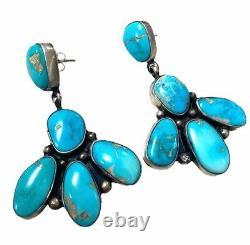 Navajo Handmade Sterling Silver Kingman Turquoise Post Earrings Eleanor Largo