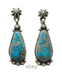 Navajo Handmade Sterling Silver Kingman Turquoise Post Earrings S