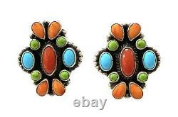 Navajo Handmade Sterling Silver Multi Stone/Color Cluster Clip Earrings GA
