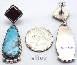 Navajo Handmade Sterling Silver Multi-Stone Post Earrings Betty Joe
