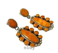 Navajo Handmade Sterling Silver Orange Spiny Oyster Post Earrings