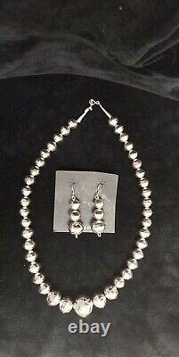 Navajo Handmade Sterling Silver Pearls Necklace Wirh Earrings -Calvin Largo