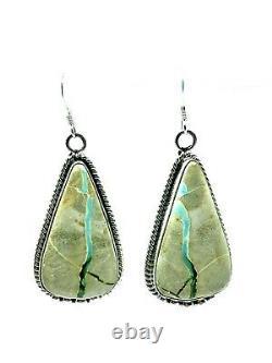 Navajo Handmade Sterling Silver Royston Turquoise Hook Earrings By Elouise Kee