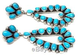 Navajo Handmade Sterling Silver Sleeping Beauty Turquoise Post Earrings- Geneva