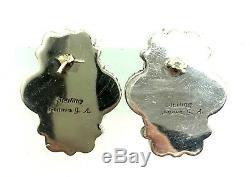 Navajo Handmade Sterling Silver Sleeping Beauty Turquoise Post Earrings Geneva