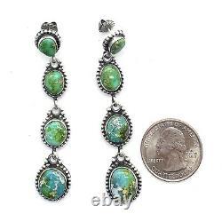 Navajo Handmade Sterling Silver Sonoran Gold Turquoise Earrings Eleanor Largo