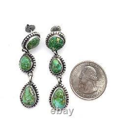 Navajo Handmade Sterling Silver Sonoran Gold Turquoise Earrings Ella Spencer