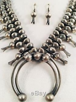 Navajo Handmade Sterling Silver Squash Blossom Necklace and Earrings