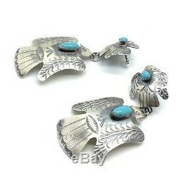 Navajo Handmade Sterling Silver Thunderbird Stamp Turquois Earrings Tim Yazzie